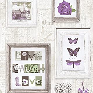 Muriva 131504 Live Laugh Love Wallpaper Roll - Purple