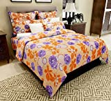 Home Candy 144 TC Lovely Cotton Double Bedsheet with 2 Pillow Covers - Orange (CTN-BST-283)