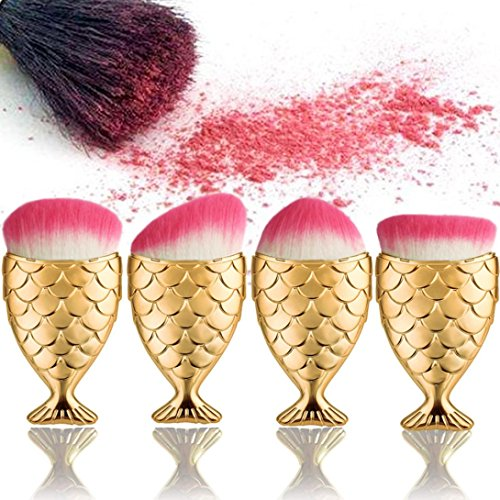 Coolster 4PC/Set Fisch Skala Fishtail Bottom Powder Foundation Make-up Kosmetik Pinsel Verschiedene Formen (Tutorial Make Up Schwarz)