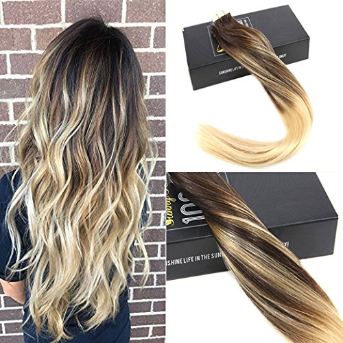 Sunny balayage extension biadesivo capelli 22 pollice/55cm lisci remy marrone con bionda tape in extensions human hair 20pcs/50g