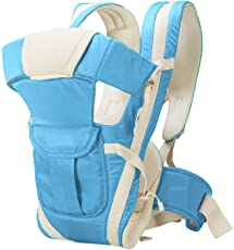 HOLME'S Adjustable Hands-Free 4-in-1 Baby Carrier Bag with Comfortable Head Support and Buckle Straps (Sky Blue)