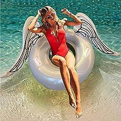 """Huaanlonguk Flotador Inflable para Piscina con Forma de alas de ángel, Flotador Gigante de la Piscina Juguetes acuáticos Divertidos con Válvulas Rápidas DE 42"""" para Adultos y Niños"""