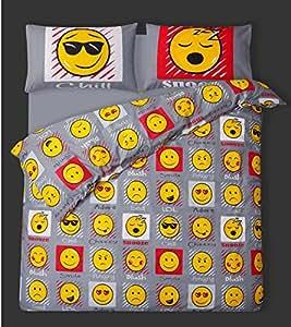 Double bed emoji duvet cover bedding set smiley face for Emoji bedroom ideas