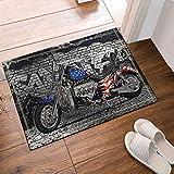 SHUHUI Kraftvolles Motorrad und amerikanische Flagge neben Grauer Wand Wasserdicht, haltbar, Rutschfest, Keine Chemikalien, Fußmatten, Fußmatten