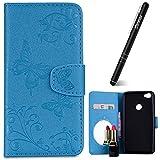 Xiaomi Redmi Note 5A Hülle,Xiaomi Redmi Note 5A Hülle Leder Blau,Slynmax Spiegel Schmetterling Ledertasche Flip Wallet Leder Tasche Case Spiegel Schutzhülle Bumper Handyhüllen für Xiaomi Redmi Note 5A
