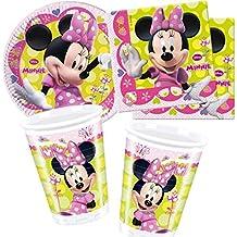 37piezas Set de fiesta * Minnie Mouse Boutique * con 8platos de papel + 20servilletas + 8vasos + Deko/Fiesta De Cumpleaños/Disney Niños Vajilla Vajilla para niños niños decoración decoración fiesta niña niño desechables kinderfest Color Rosa Girls Minnie Mouse