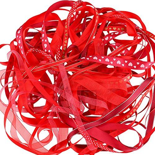 Luxbon decorazione nastro doppio raso e organza e grosgrain Nastri 10x 2metri taglio 6mm a 16mm fai da te cucito Red