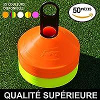 EuroMarkt Plots de Marquage Jaunes et Oranges de Haute Visibilité - 50 Pièces avec Porte-Plot Inclus [Net World Sports]