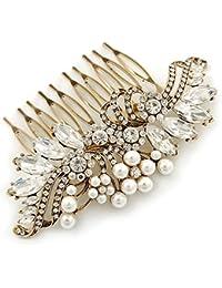 De tamaño maxi suite/boda/diseño de vestido de fiesta/de cristal de dorado antiguo de fiesta, Pearl diseño de flores de peine - 100 mm