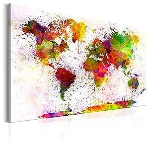 murando Cuadro en Lienzo 60×40 1 Parte Impresión en Material Tejido no Tejido Impresión Artística Imagen Gráfica Decoracion de Pared – Mapa del Mundo Mundo Continente k-B-0018-b-a