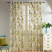 Top Finel simple cortina transparente de paneles para la ventana de concina,sala de estar,dormitorio,visillo con pintura de Flor silvestre,195 cm anchura por 215 cm longitud,con ojales,solo panel
