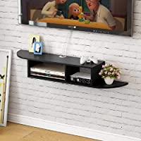 Kundi Floating TV Stand Wall Mounted Media Console Entertainment Storage Shelf Black