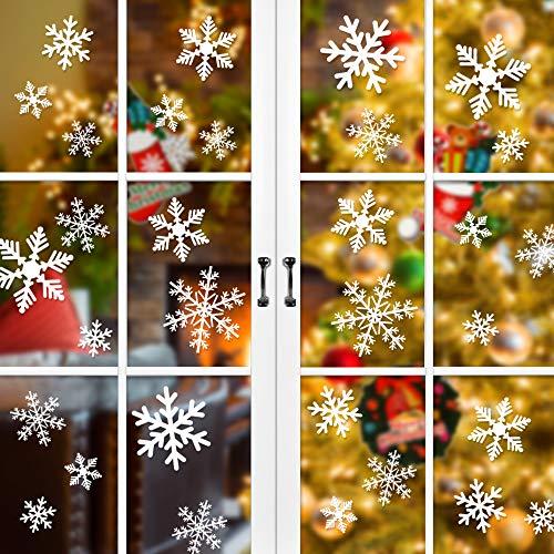 90 Stück Fensterbilder für Weihnachten, Nasharia Schneeflocken Aufkleber Fensterbilder Wanddeko Aufkleber Abziehbilder,Abnehmbare Fensterdeko Statisch Haftende PVC Aufkleber Weiß.