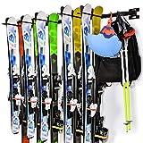 Ikkle Porte-Skis Support Rangement de Ski Mural Amovible et Assemblage Flexible pour 10 Paires de Skis Snowboard Balais Râteaux pour Le Rangement de Maison Garage, Noir...