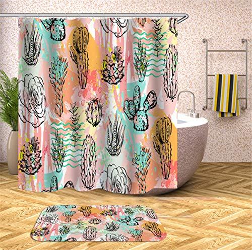 Fansu Duschvorhang Anti-Schimmel Wasserdicht Antibakteriell 3D Kaktus Drucken, 100% Polyester Transparent Karikatur Vorhang für Badzimmer Digitaldruck mit 12 Duschvorhangringe (180x200cm,L)