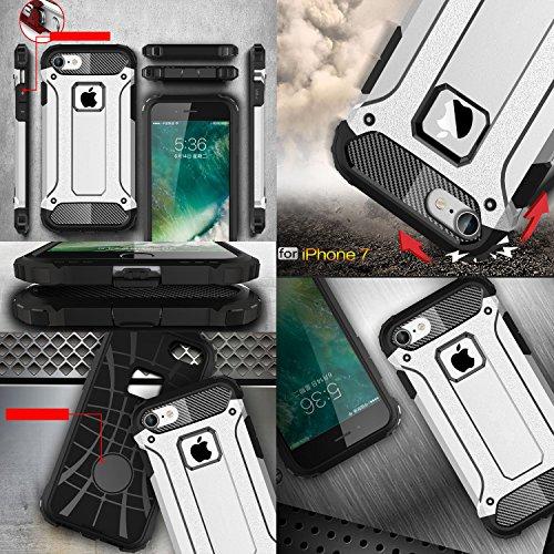 iPhone 7 Hülle, HICASER Hybrid Dual Layer Rugged Heavy Duty Defender Case [Shock Proof] Drop Resistance TPU +PC Handytasche Schutzhülle für Apple iPhone 7 4.7-inch Silber Silber