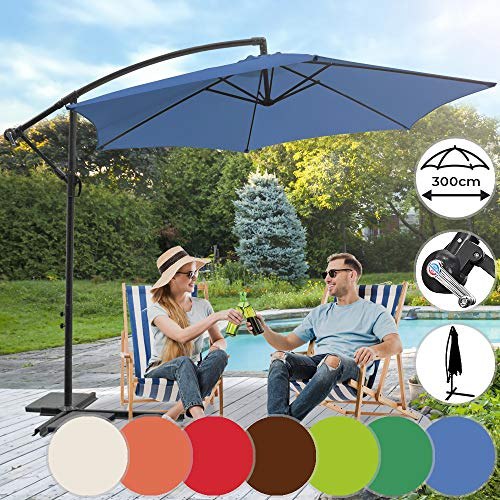 Parasol Déporté | Diamètre 3 m, Inclinable, Excentré, Protection UV 30+, Polyester, Manivelle, Couleurs au Choix | Parasol Hexagonal, de Jardin, Terrasse, Balcon (Bleu)