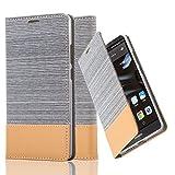 Cadorabo Hülle für Huawei Mate 8 - Hülle in HELL GRAU BRAUN – Handyhülle mit Standfunktion und Kartenfach im Stoff Design - Case Cover Schutzhülle Etui Tasche Book