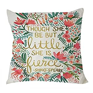 B Lyster shop Shake Speare Quote Though She Be but Little She Is Fierce W013 Cotton & Polyester Soft Zippered Cushion Throw Case Pillow Case Cover