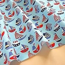 Tela infantil con motivos náuticos de veleros de polialgodón blanco y azul marino para artesanías