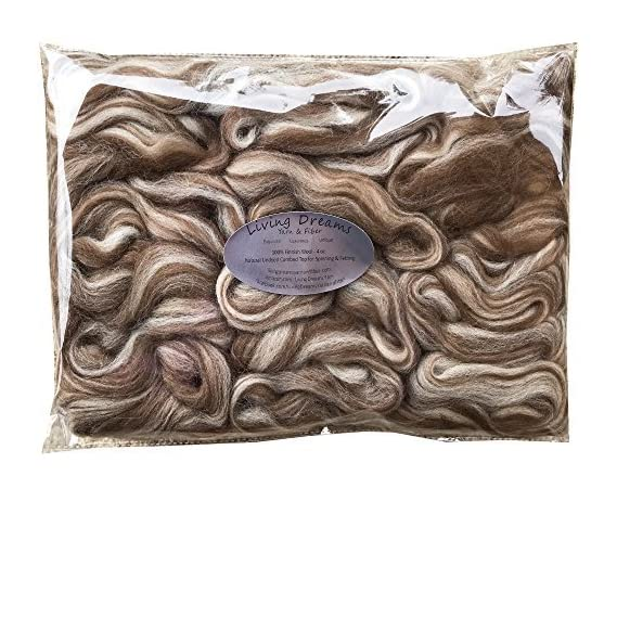 Finnish Wool in Natural Brown and White. Super Soft Combed Top Roving for Hand Spinning, Needle Felting, Wet Felting, Dryer Balls and Overdying. Natural Brown and White