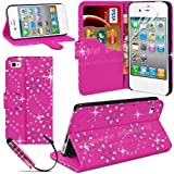 Mobile Junction � Diamond Wallet Apple iPhone 4 iPhone 4S Bling Glitter Leather Wallet Stand Case Cover Side Flip Phone Pouch with Card Holder Incl. Free Screen Protector & Stylus Pen (Hot Pink)