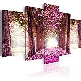 Cuadro 200x100 cm - 3 tres colores a elegir - 5 Partes - Formato Grande - Impresion en calidad fotografica - Cuadro en lienzo tejido-no tejido - flores �rbol c-A-0039-b-p 200x100 cm B&D XXL
