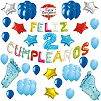 COTIGO Globos Feliz Cumpleaños Happy Birthday Fiesta Party Docoración para Niños 108 Piezas Globo Látex Azul Color Azul Años 2