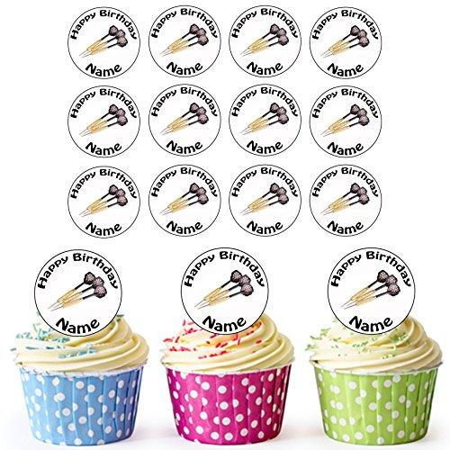 Vorgeschnittene Personalisierte Darts - Essbare Cupcake Topper / Kuchendekorationen (24 Stück)
