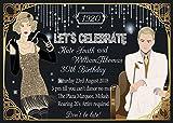10x Personalisierte Geburtstag Abend Einladungen oder Dankeskarten Karten Great Gatsby Vintage Art Deco
