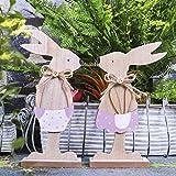 Valery Madelyn Osterhasen Holz Ostern Dekofigur 2er Set 19/21 cm Höhe Hase Ostern Figur Frühling Garten Kaninchen Ostern Dekoration Rosa und Braun MEHRWEG Verpackung