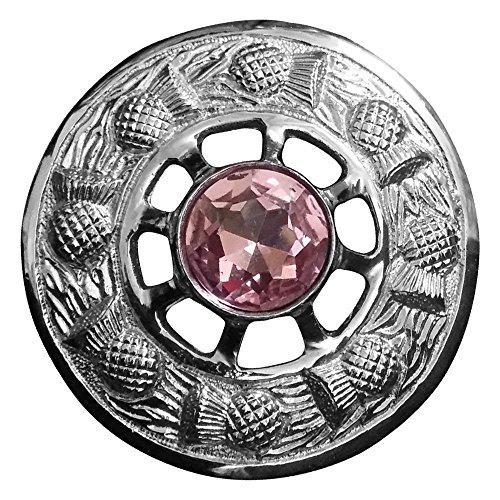 Kilt Fly Plaid Brosche rosa Stein Silber Finish/Damen Schal Brosche/Distel Emblem Broschen (Rosa Emblem)