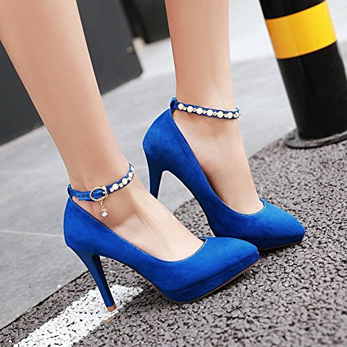 Mee Shoes Damen ankle strap high heels Nubuck Pumps Blau