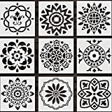 Reusable Mandala Stencil Set of 9, Vinadr Laser Cut Painting Template for Spraying Windows, Furniture, Walls Art and Christmas DIY Decoration (6X6 inch)