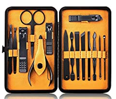 Idea Regalo - Tagliaunghie Set Professionale - Grooming Kit Strumenti per Manicure e Pedicure 15pcs con Box (Giallo)