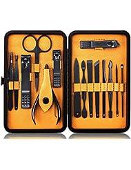 Professional Edelstahl Nagelknipser Set - Hochwertige Maniküre & Pediküre Set 15pcs - Reise Grooming Kit mit Schöne Box (Gelb)