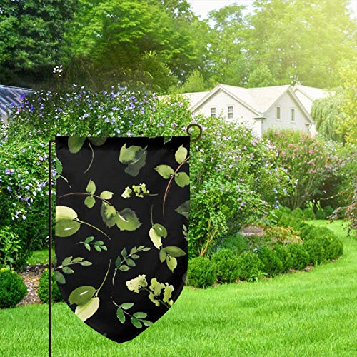 IconSymbol Garden Outdoor Flag Banner Boho Skull Leaves Mix Match Black Decorative Weather Resistant Double Stitched 18x12.5 Inch