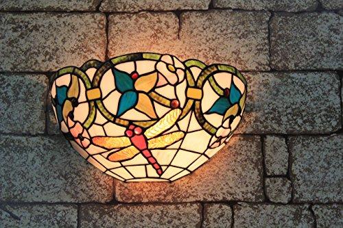 Broncos 12 pouces Vintage Pastoral Vitrail Tiffany Dragonfly Applique Couloir Applique murale Lampe Mobilier