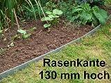 Rasenkanten aus Edelstahl, V2A, 130 mm hoch, Beeteinfassung, 10er Set