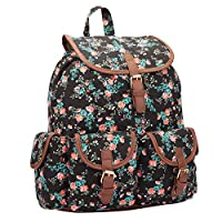 Quenchy London Ladies Backpack, Girls Casual Daypack Bag for School, Work or Hand Luggage Travel 20 Litre Size 36cm x33 x18 QL8161K (Black Flower)