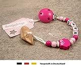 Veilchenwurzel an Schnullerkette mit Namen | natürliche Zahnungshilfe Beißring für Babys | Schnullerhalter mit Wunschnamen - Mädchen Motiv Eule in pink