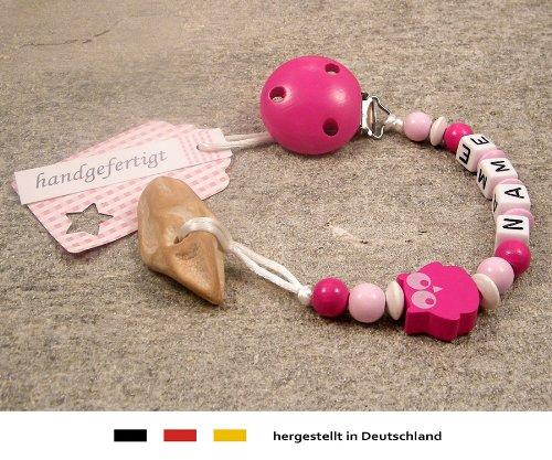 Veilchenwurzel an Schnullerkette mit Namen   natürliche Zahnungshilfe Beißring für Babys   Schnullerhalter mit Wunschnamen - Mädchen Motiv Eule in pink