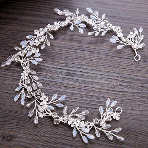 fogun Braut Haar Band Weiß Kristalle Haarband Hochzeit Brautschmuck Diadem Zubehör Ornaments
