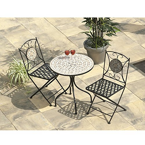 Casablanca Mosaic Bistro Collection Cream Tiles Table & Chairs Set - 2 Seater - Garden Dining Set - Mosaic Tile Table - Metal Furniture