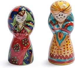 choppingboard's Rajasthani Handpainted Ceramic Salt & Pepper Sets, 2 Pieces, Multicolor