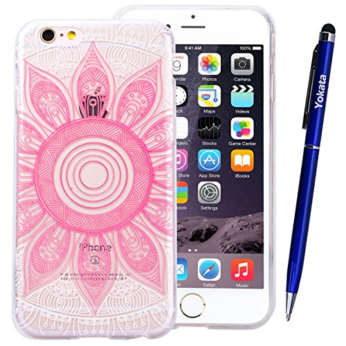 Yokata iPhone 6 Plus / iPhone 6s Plus Hülle Transparent Weich Silikon Gel Crystal Clear TPU Case Handyhülle Schutzhülle Durchsichtig Ultra Slim Anti-Scratch Backcover Schale Silicone Bumper Protective Rosa Mandala