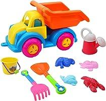 Juguetes Playa y Bola Nieve con Camion Rastrillo Pala Cubo Moldes de Animales 9pcs Juguete Arena Incluye Bolsa de Malla, Juego de rol para Niños 3 4 5 Años, Color Aleatorio