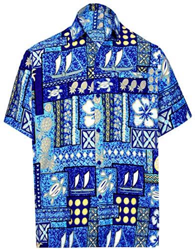 LA LEELA Casual Hawaiana Camisa Hombre Señores Manga