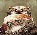 funda nórdica 3D Lobo cachorro Tridimensional de impresión activo incluyen Hojas * 1, cubierta del edredón * 1, funda de almohada * 2 (4 Unidades) , 001 , 200*230cm