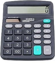 Büro-Tischrechner, 12-stelliger Standard-Tischrechner, Solar- und Batteriebetrieb, tragbares LCD-Display, große Tasten, finanzieller wissenschaftlicher Taschenrechner für Home Office Free Size Schwarz